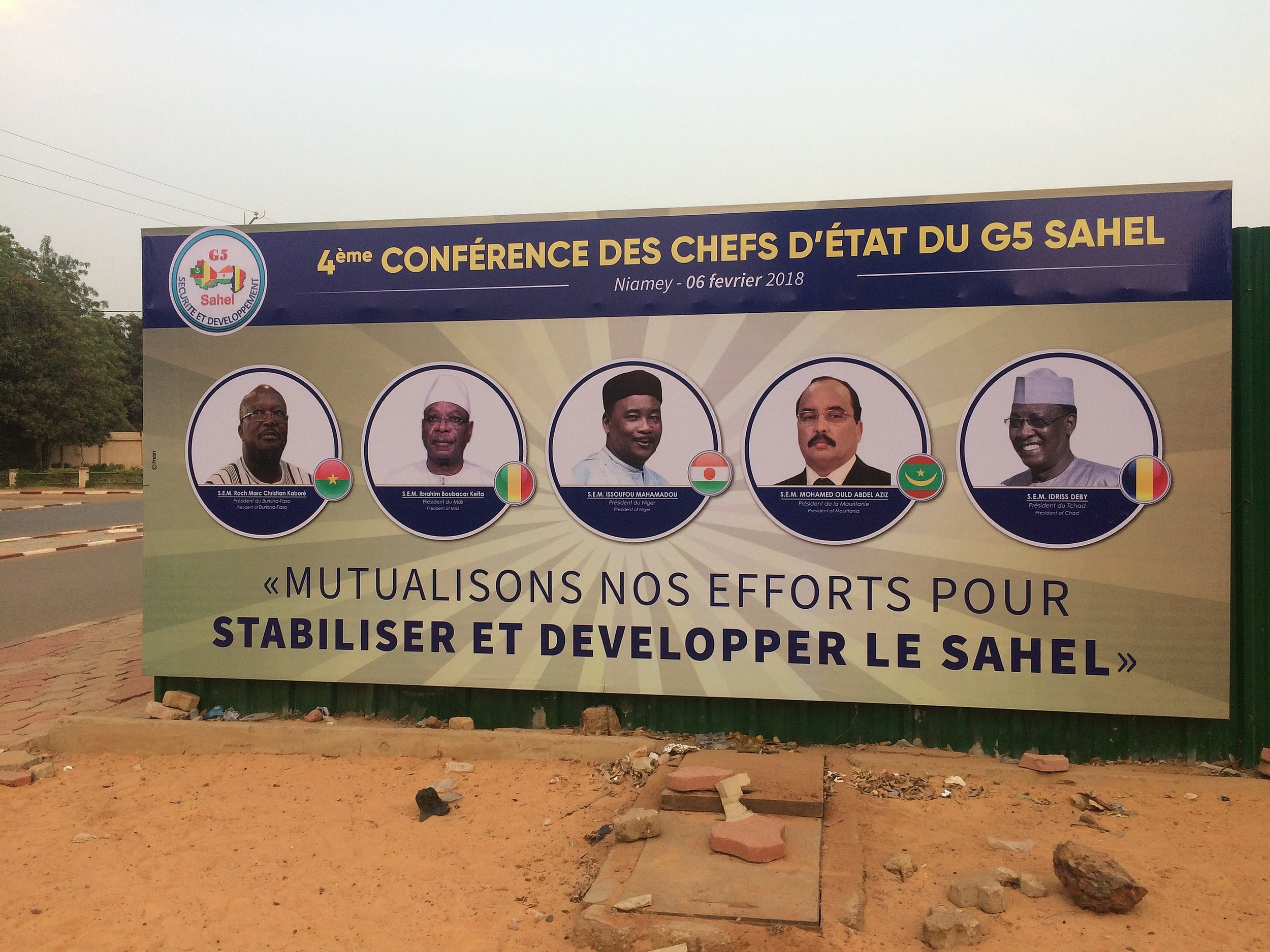 A billboard in Niamey (Niger) announcing a summit of Heads of State of the G5 Sahel in February 2018. (Wikimedia)