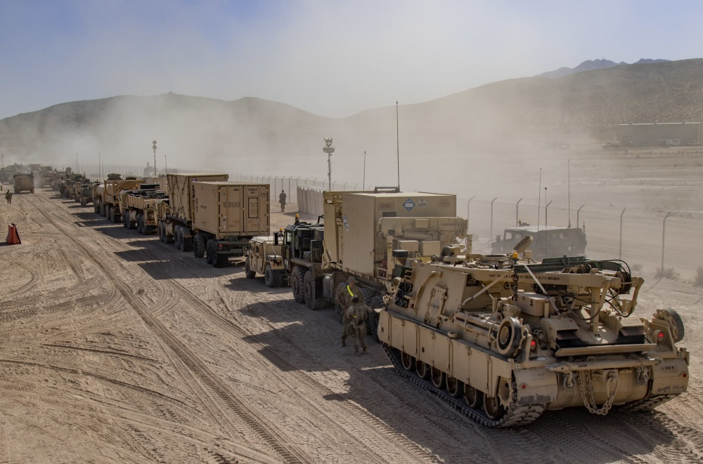 Vehicles for an exercise at the National Training Center (NTC) in Fort Irwin, Calif., 2019. (Cpl. Alisha Grezlik/DoD Photo)
