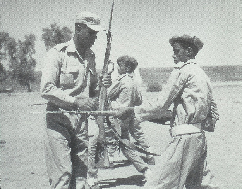 An Egyptian instructor at the San'a military academy showing a Yemeni how to use a bayonet during the North Yemen Civil War (Wikimedia)