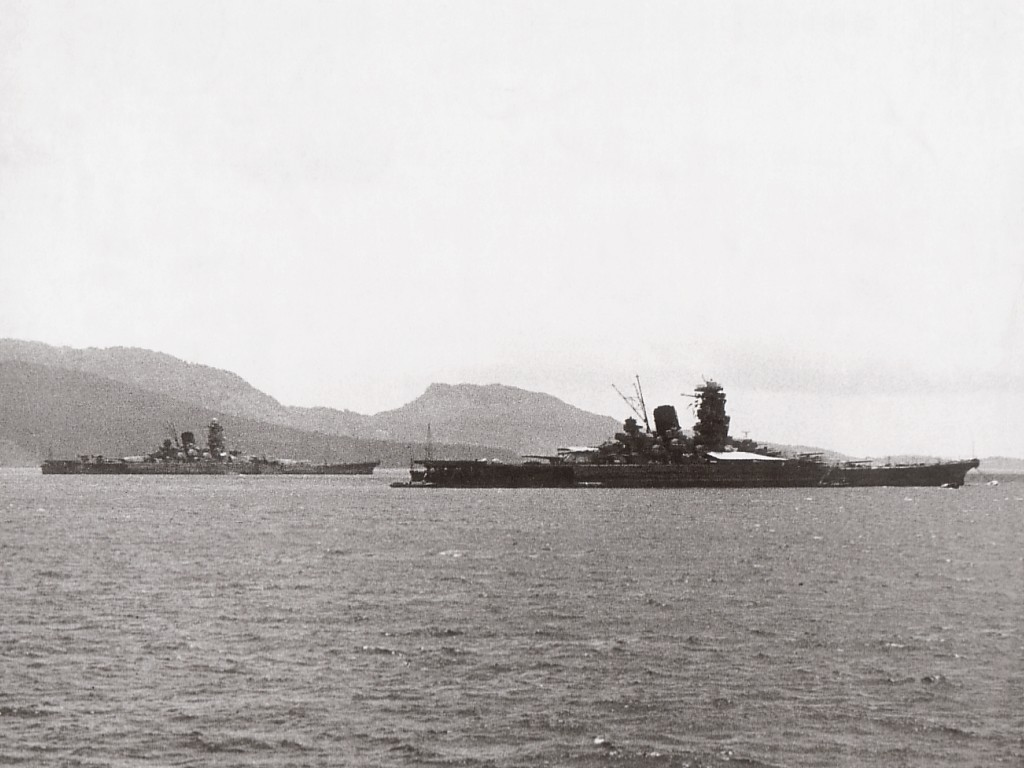 Super-battleships Yamato and Musashi anchored in the waters off of the Truk Islands in 1943. (Wikimedia)