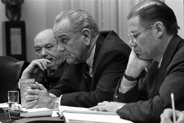 Secretary of State Dean Rusk, President Lyndon B. Johnson, and Secretary of Defense Robert McNamara at a meeting in the White House, Feb. 9, 1968 (Yoichi Okamoto/LBJ Library).
