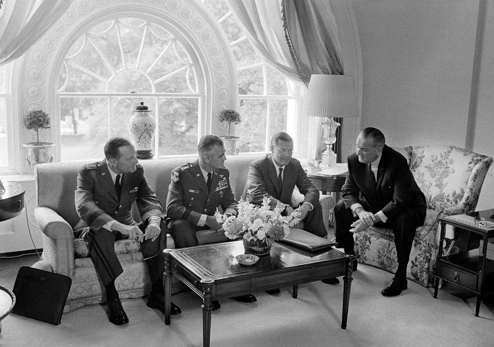 President Lyndon B. Johnson with General Earle Wheeler, chairman of the Joint Chiefs of Staff; General Westmoreland; and Robert S. McNamara, the defense secretary, in 1967 (AP)