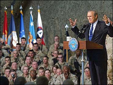 """Then Secretary of Defense Donald Rumsfeld famously said, """"You go to war with the Army you have."""" (CBS News)"""