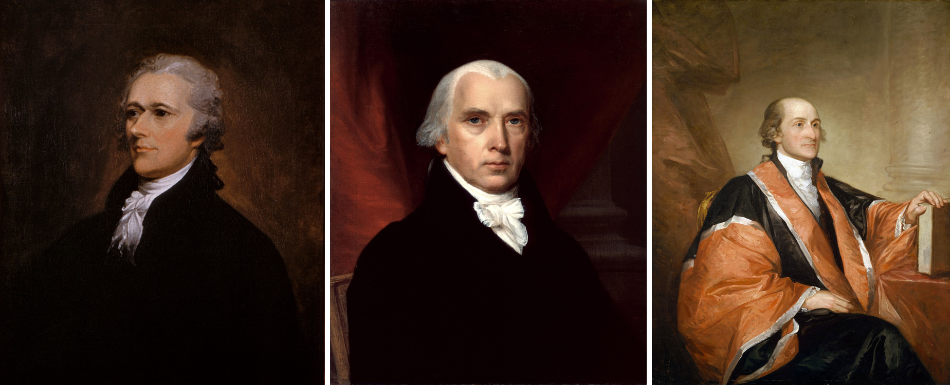 Alexander Hamilton (painted by John Trumbull), James Madison (painted by John Vanderlyn), and John Jay (painted by Gilbert Stuart), authors of The Federalist Papers (Wikimedia)