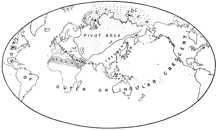 Map of the Heartland Theory, as published by Mackinder in 1904. (Wikimedia)