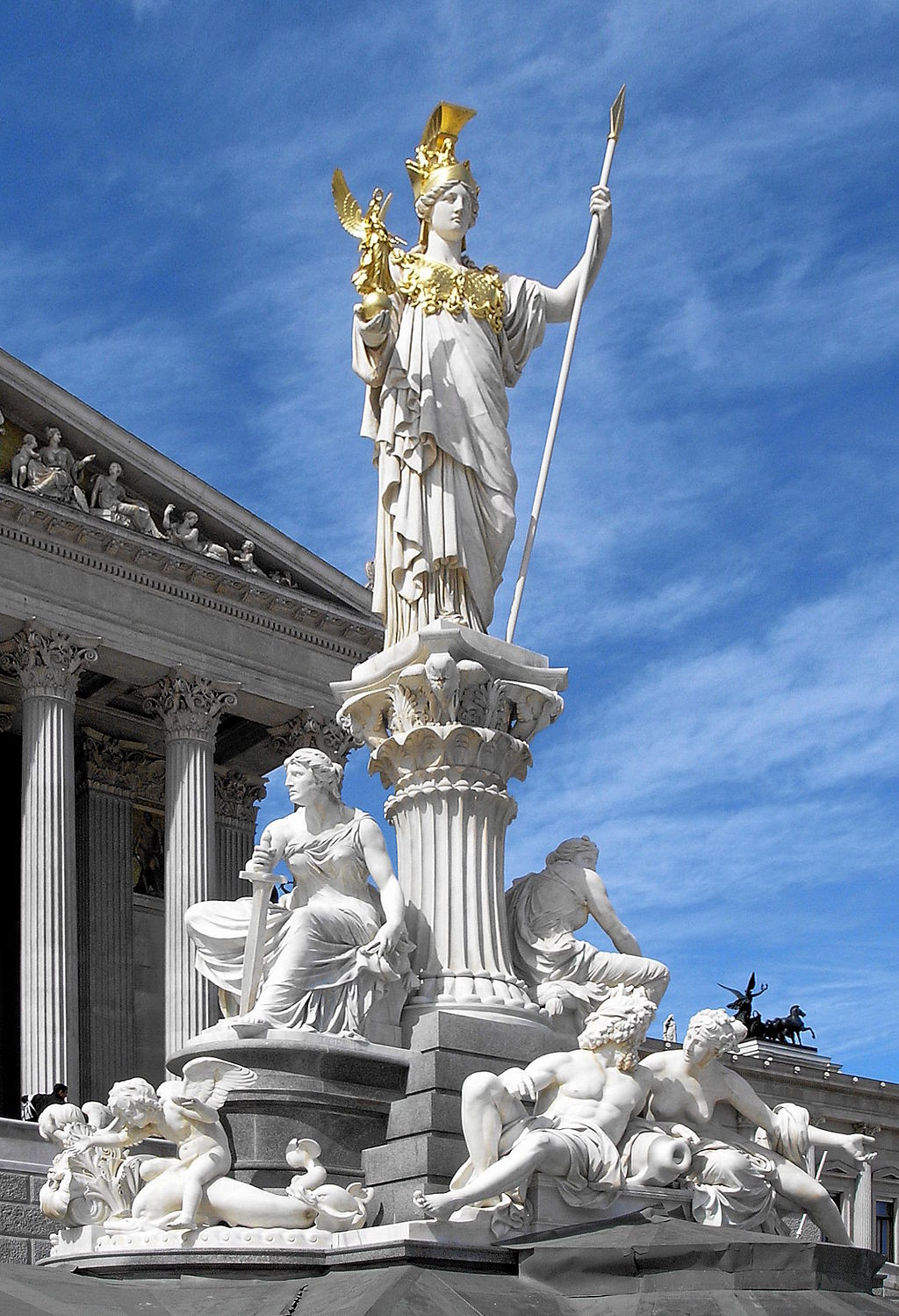 Statue of Pallas Athena in front of the Austrian Parliament Building. (Wikimedia)