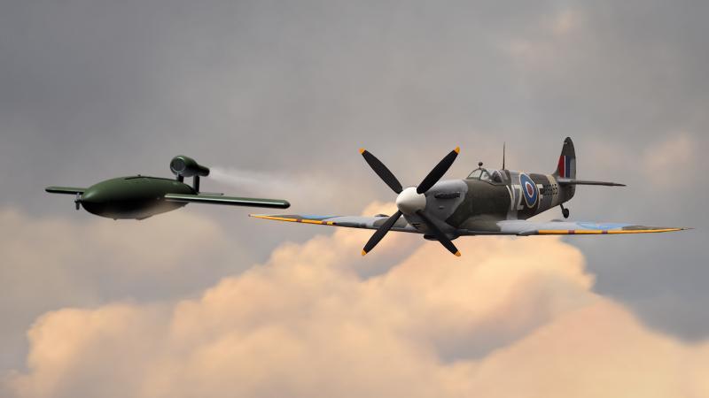Spitfire and V-1 (Forces.net)