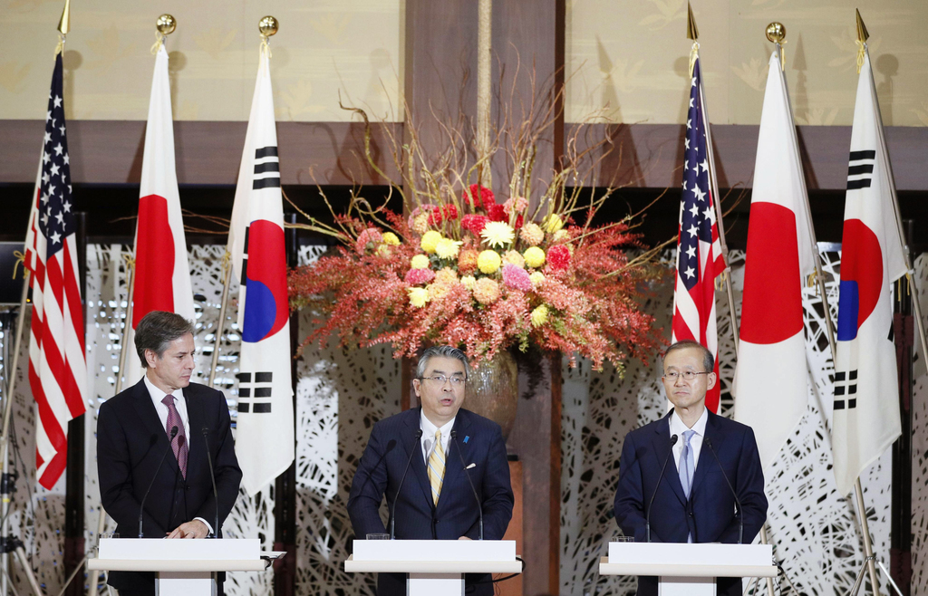 U.S. Deputy Secretary of State Anthony Blinken with his counterparts from Japan, Shinsuki Sugiyama, and South Korea, Lim Sung-N.