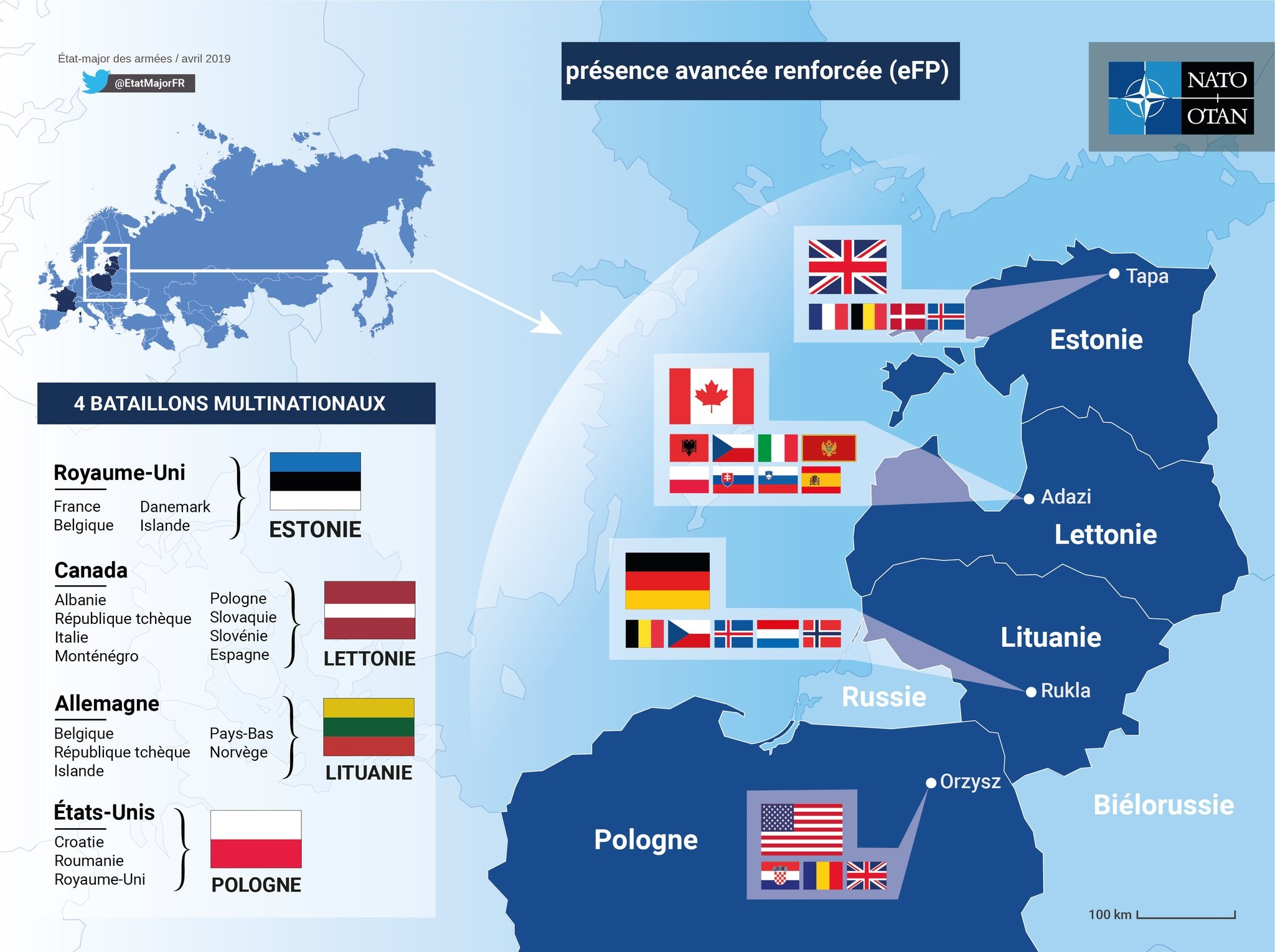 Forces involved in NATO's Enhanced Forward Presence as of April 2019 (NATO)