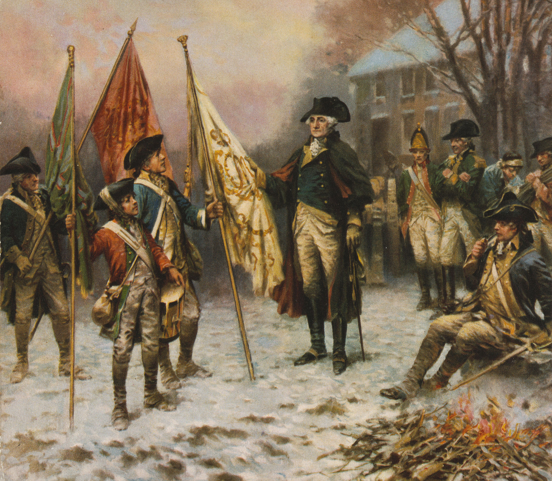 """Washington inspecting the captured colors after the Battle of Trenton,"" by Edward Percy Moran (Wikimedia)"