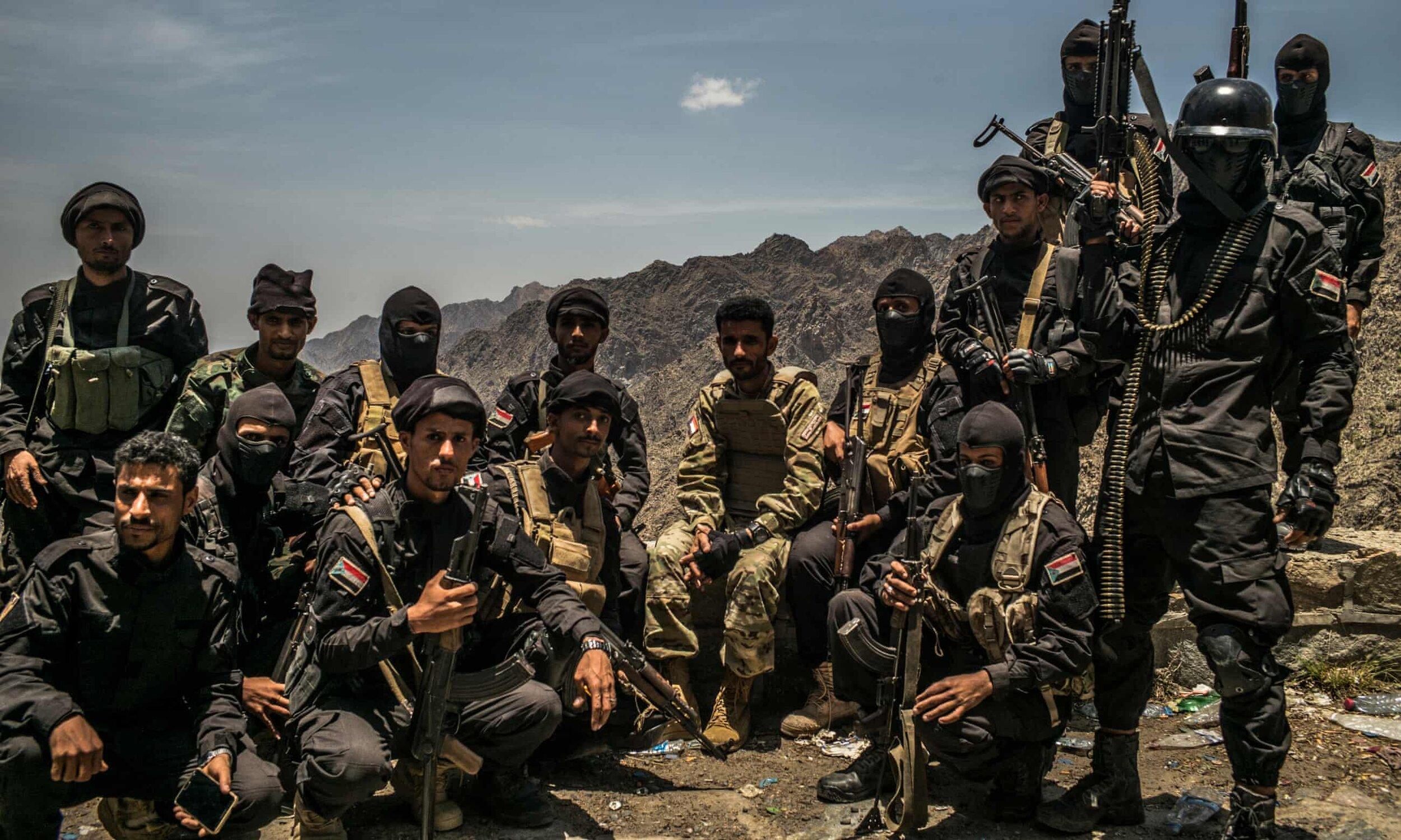 The UAE-backed Security Belt militia near their base north of Aden, Yemen. (Ghaith Abdul-Ahad/The Guardian)