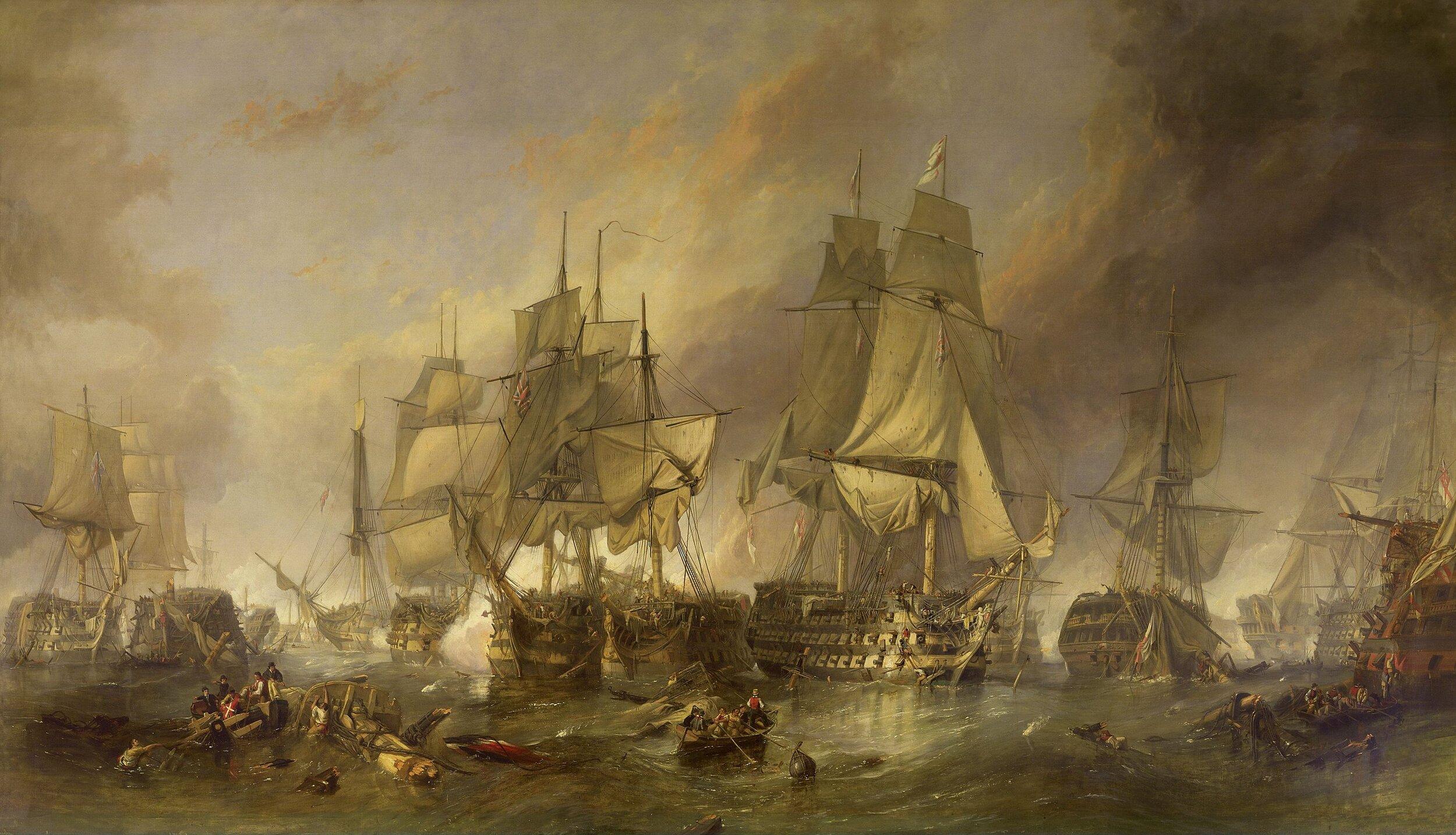 """""""The Battle of Trafalgar"""" painted by Clarkson Stanfield (Wikimedia)"""