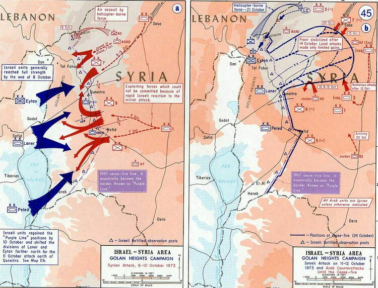 A map of the fighting on the Golan Heights (USMA Department of History/Wikimedia)
