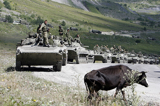 Russian military vehicles on their way to South Ossetia, August 9, 2008. (Denis Sinyakov/Reuters)
