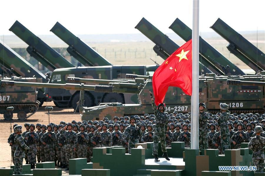 President Xi Jinping urges the People's Liberation Army to spare no efforts to become a world-class military after inspecting troops in Inner Mongolia in 2017. (China Daily)