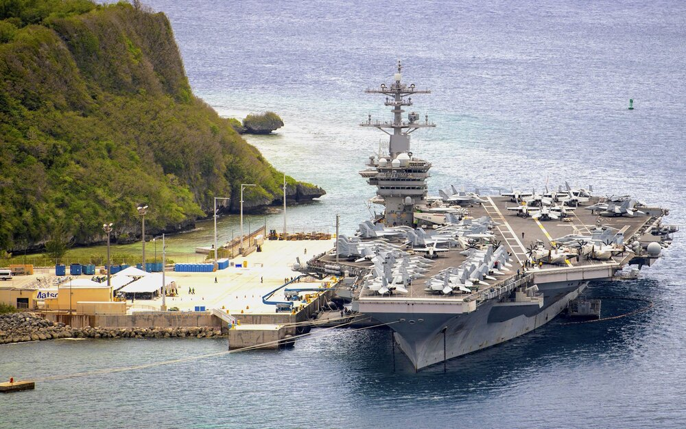USS Theodore Roosevelt (CVN-71) is moored pier side at Naval Base Guam on May 15, 2020. (U.S. Navy Photo)