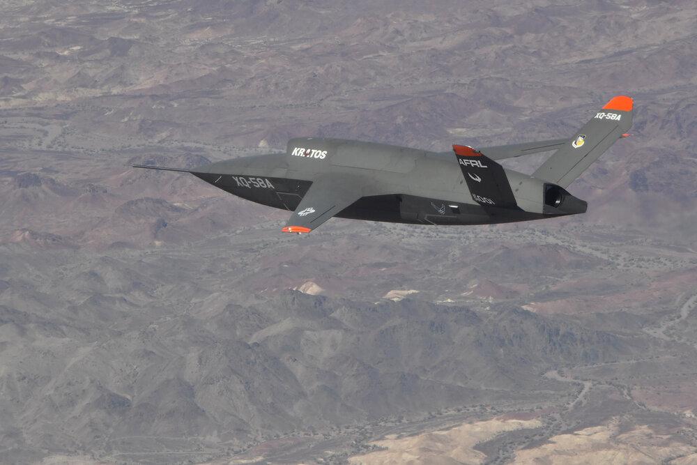 XQ-58A Valkyrie demonstrator, a long-range, high subsonic unmanned air vehicle.(U.S. Air Force Photo/2Lt Randolph Abaya)