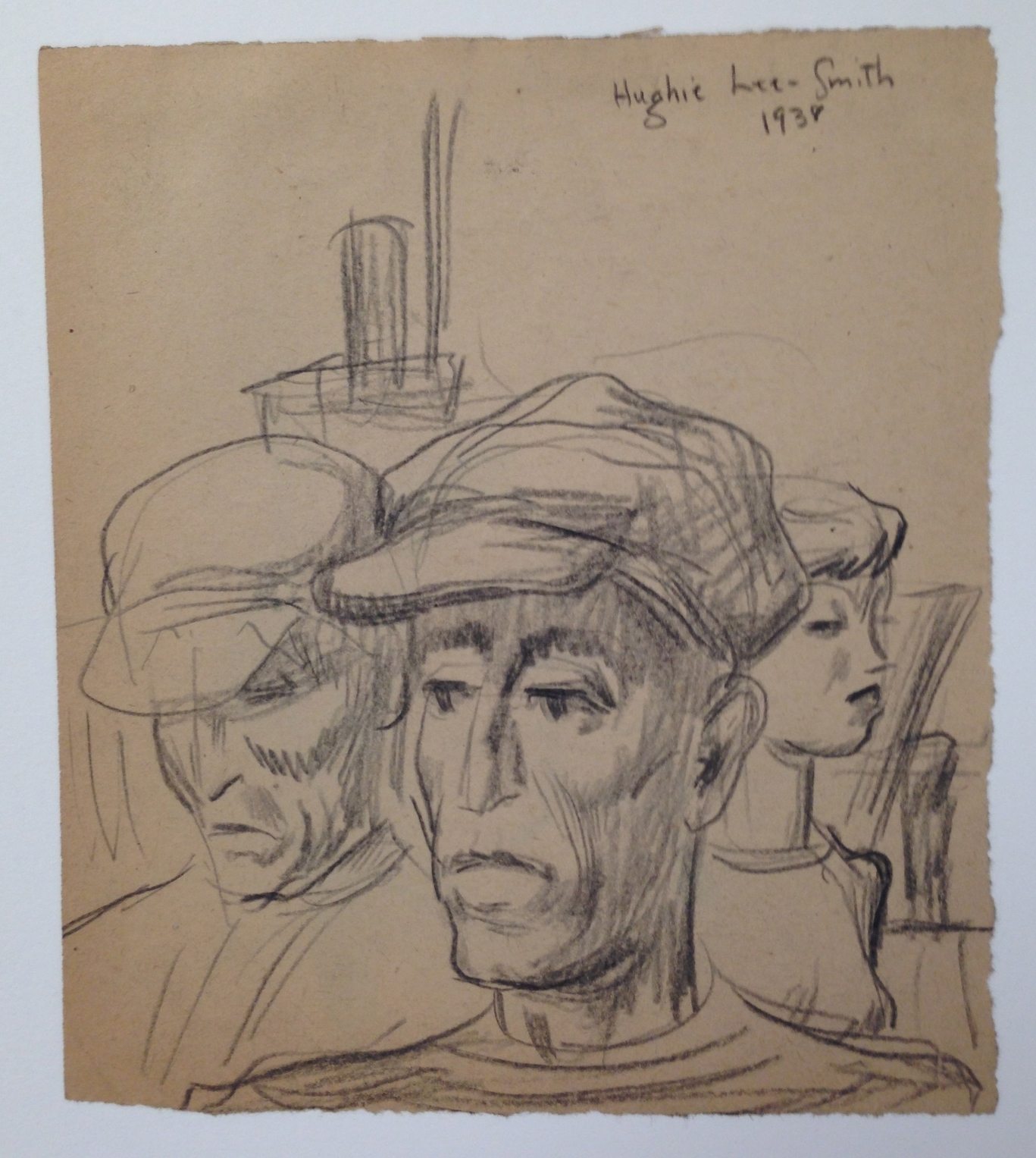 Untitled  (Two Men, One Woman) , graphite, 1938.
