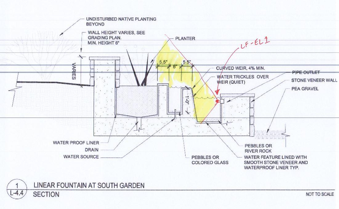 Puravida Ranch Linear Fountain South Garden Section.JPG