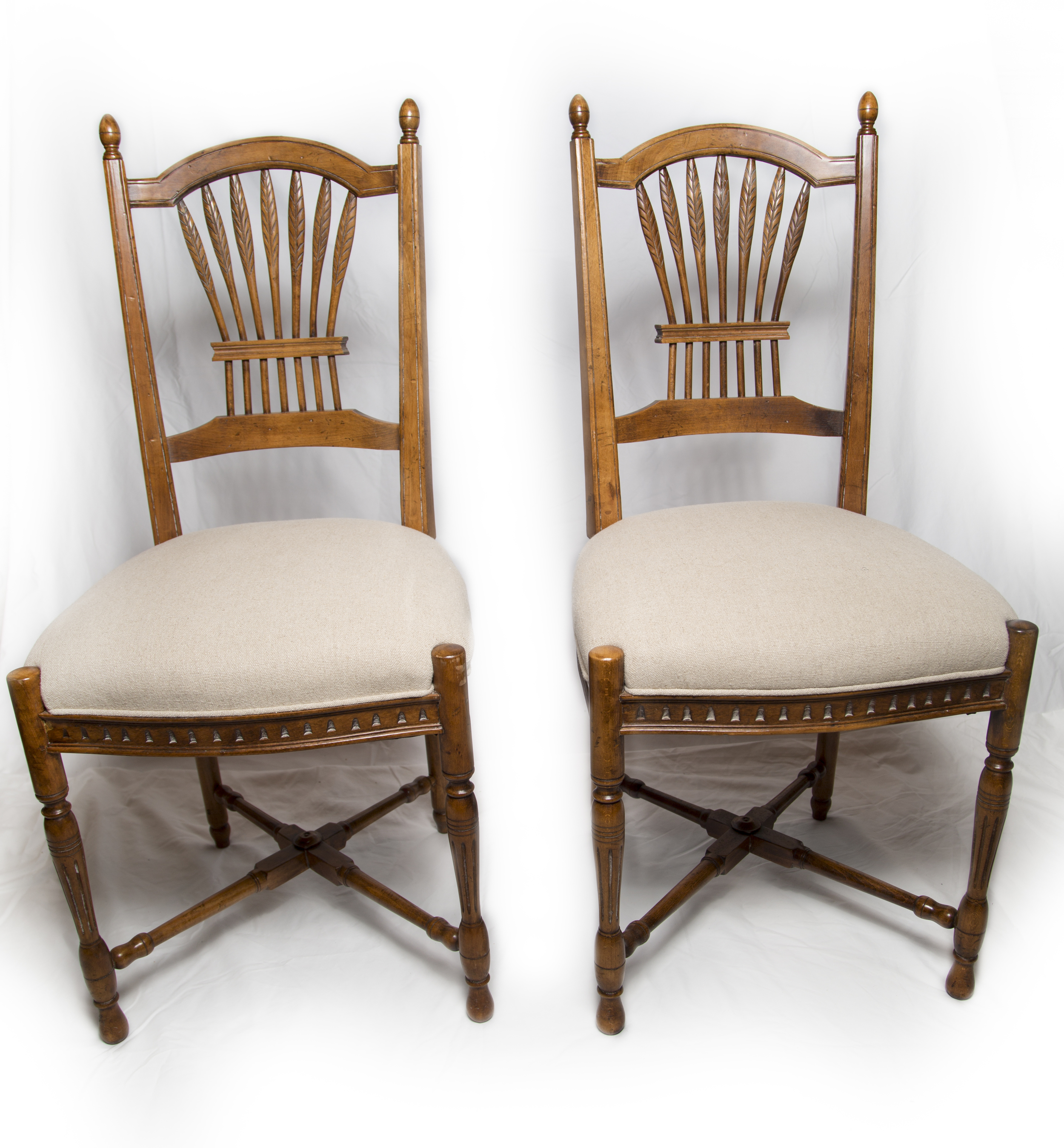 Hickory Chair Wheat Back Chairs recovered in Belgian Linen.