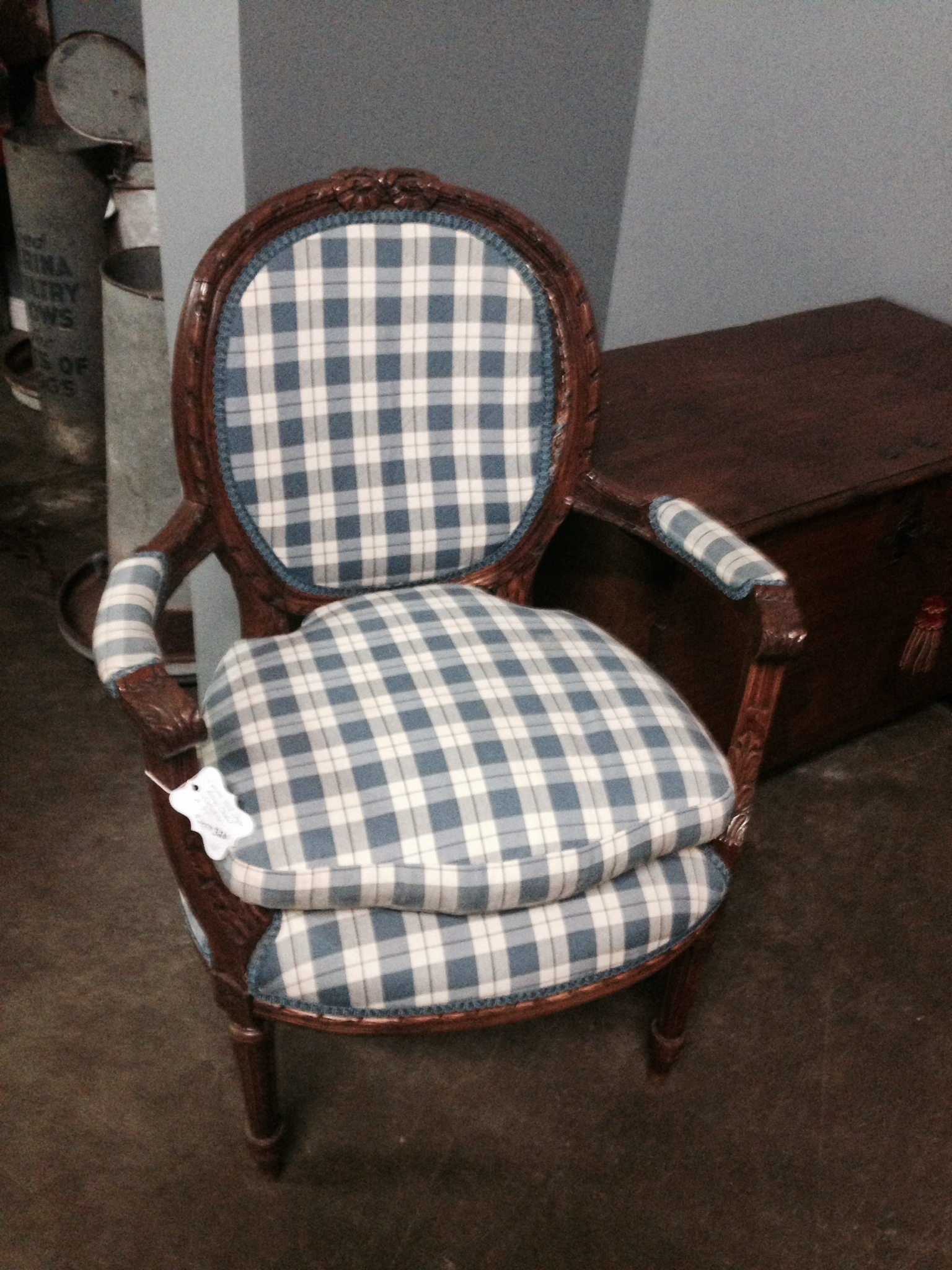 Country French Fauteuil with blue and white checks.