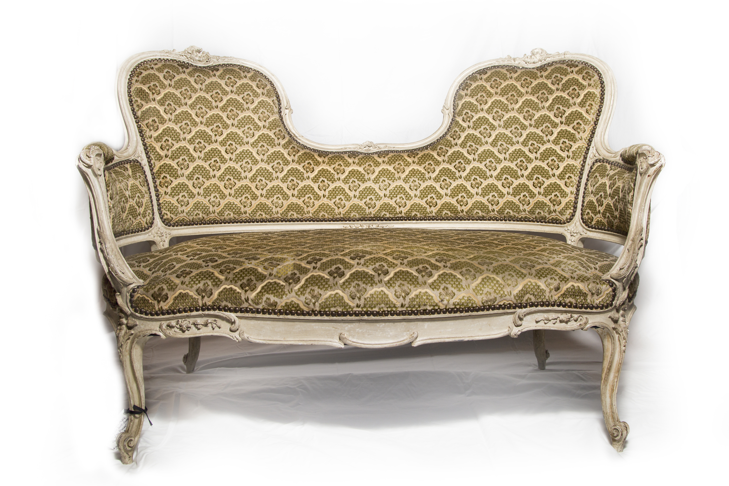 Settee with French repaired cushion. I love the details!
