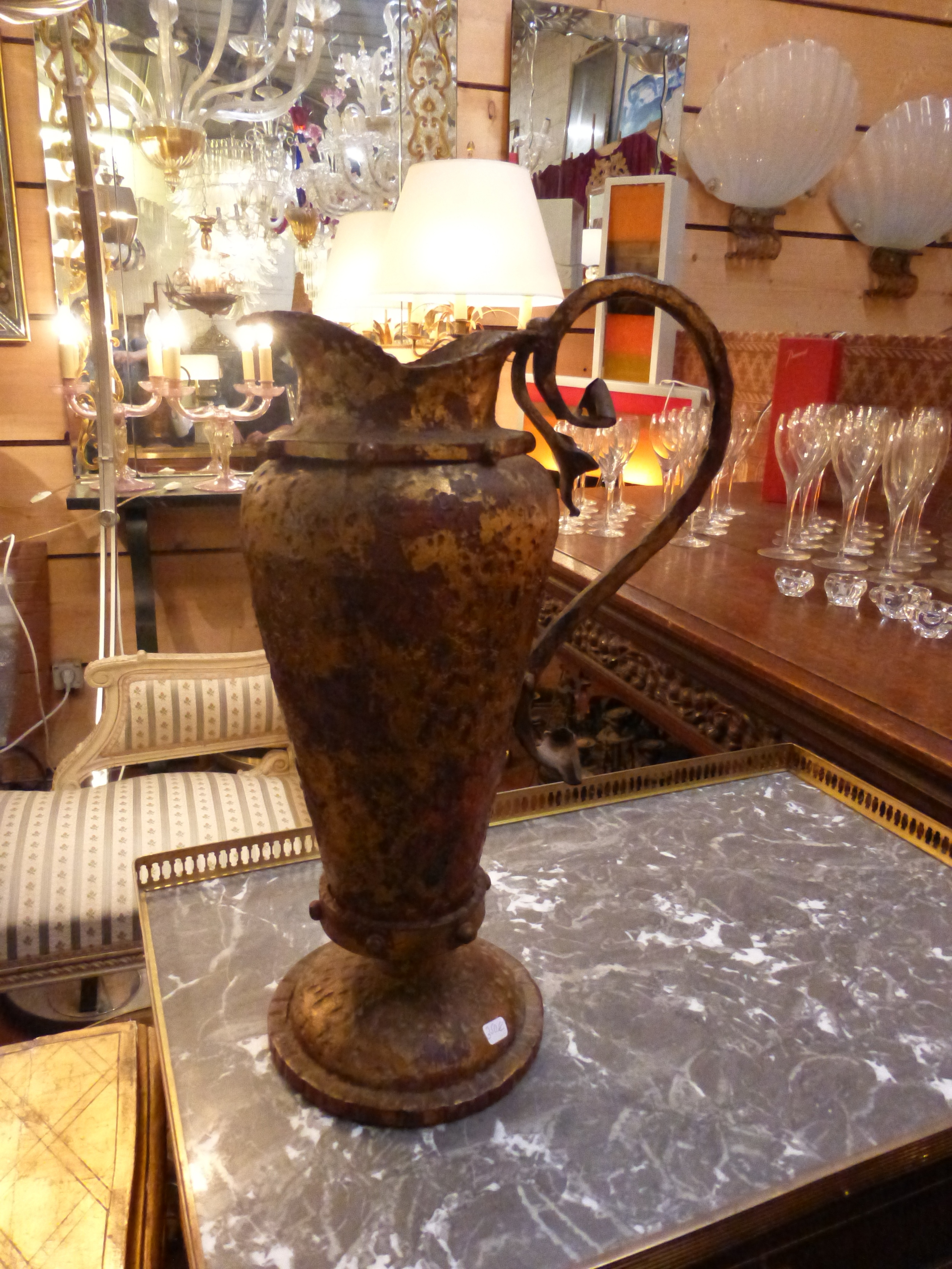 This red and gold metal ewer just stood out as as something special.