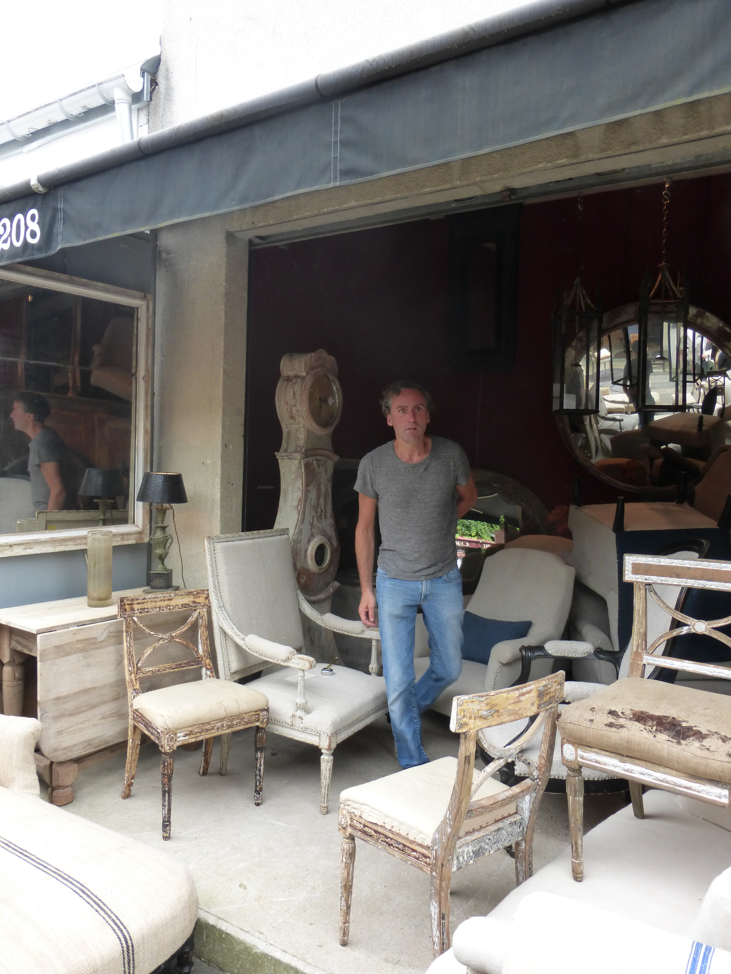 French grain sack covered chairs, Gustavian designs all in only our second stop!