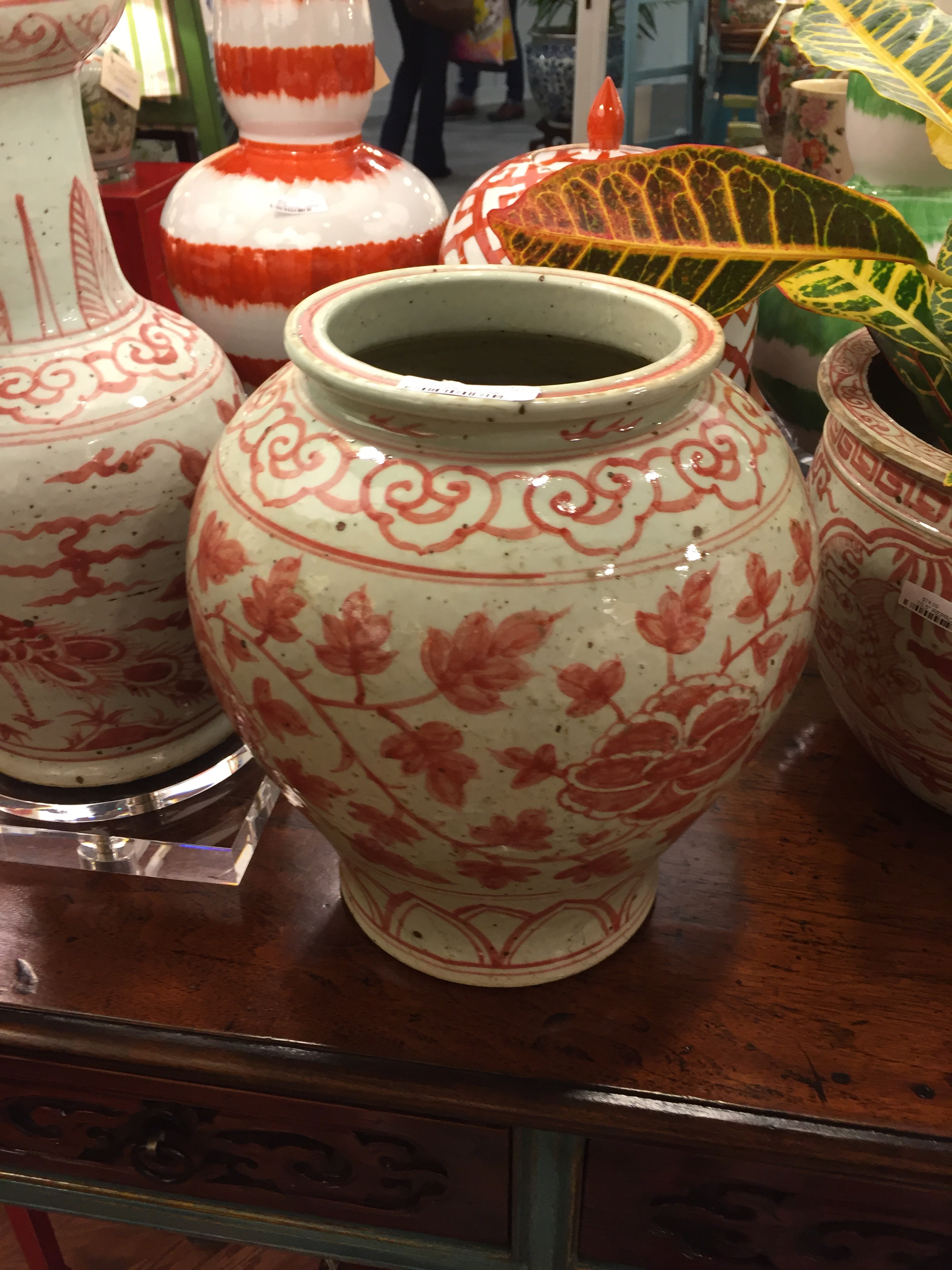 The aged look in this wonderful coral color make this a perfect piece to pair with antiques.