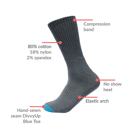 DivvyUp's donation sock. For every pair of custom/designed socks bought, one of these is donated to a local homeless shelter.
