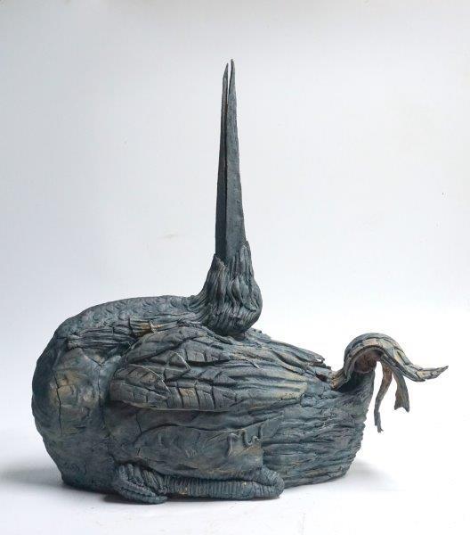 Beak Up - stoneware with cobalt oxide