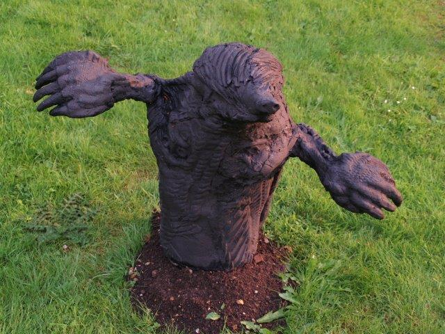 """""""Fatkin the Miner-Mole"""", cast here in resin with coal-dust"""