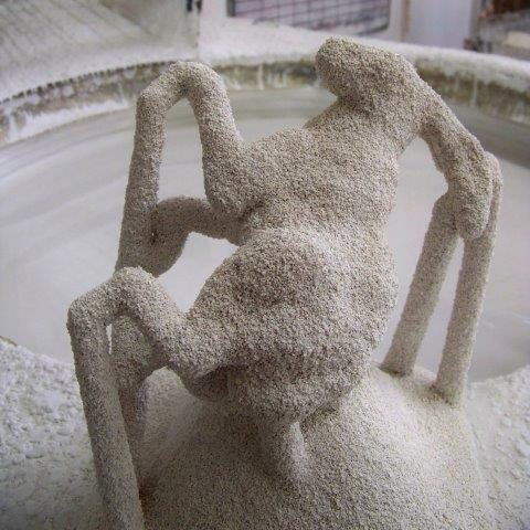 """""""Hare of the Dobbie"""" encased in what-is-to-become the ceramic shell"""