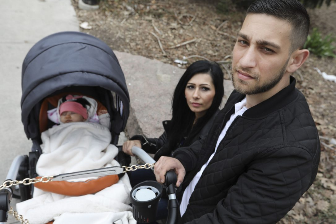 Gergo Balgh, right, is seen with his wife Nicoletta and daughter Nicole. Although the couple's spousal sponsorship application is still in process, in March, Canada Border Services Agency booked Balogh for deportation. He is scheduled to be removed from Canada on Wednesday. (RICHARD LAUTENS / TORONTO STAR)
