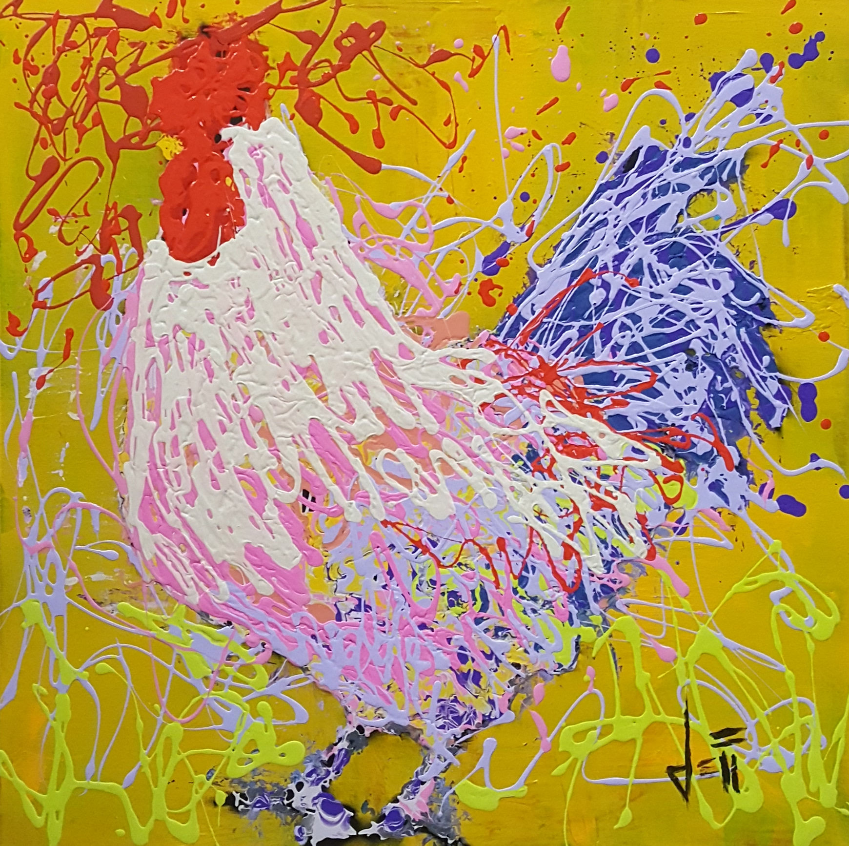 """Hector The Rooster-acrylic on canvas 24"""" x 24"""""""