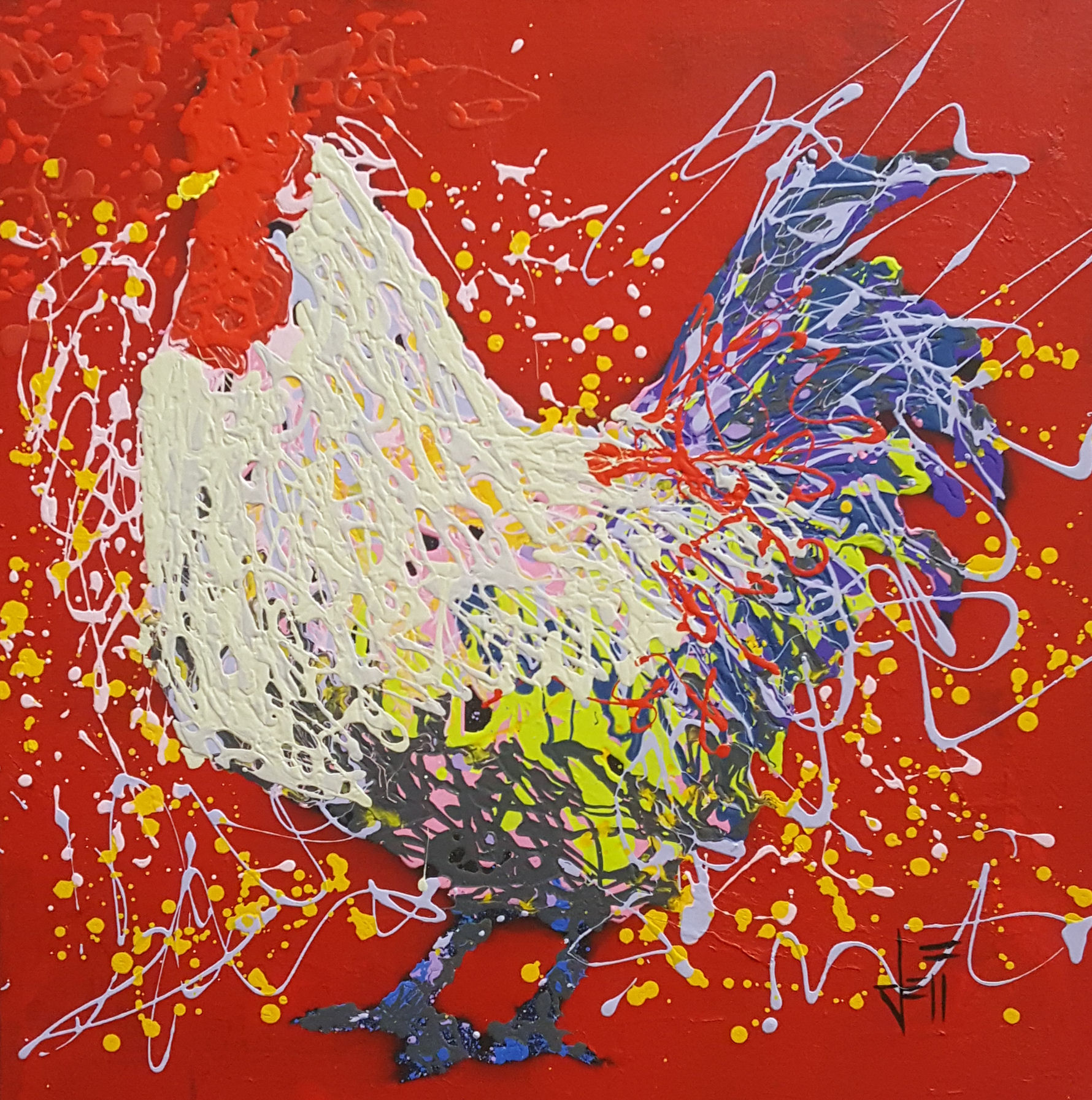 """Jax The Rooster-acrylic on canvas 24"""" x 24"""""""