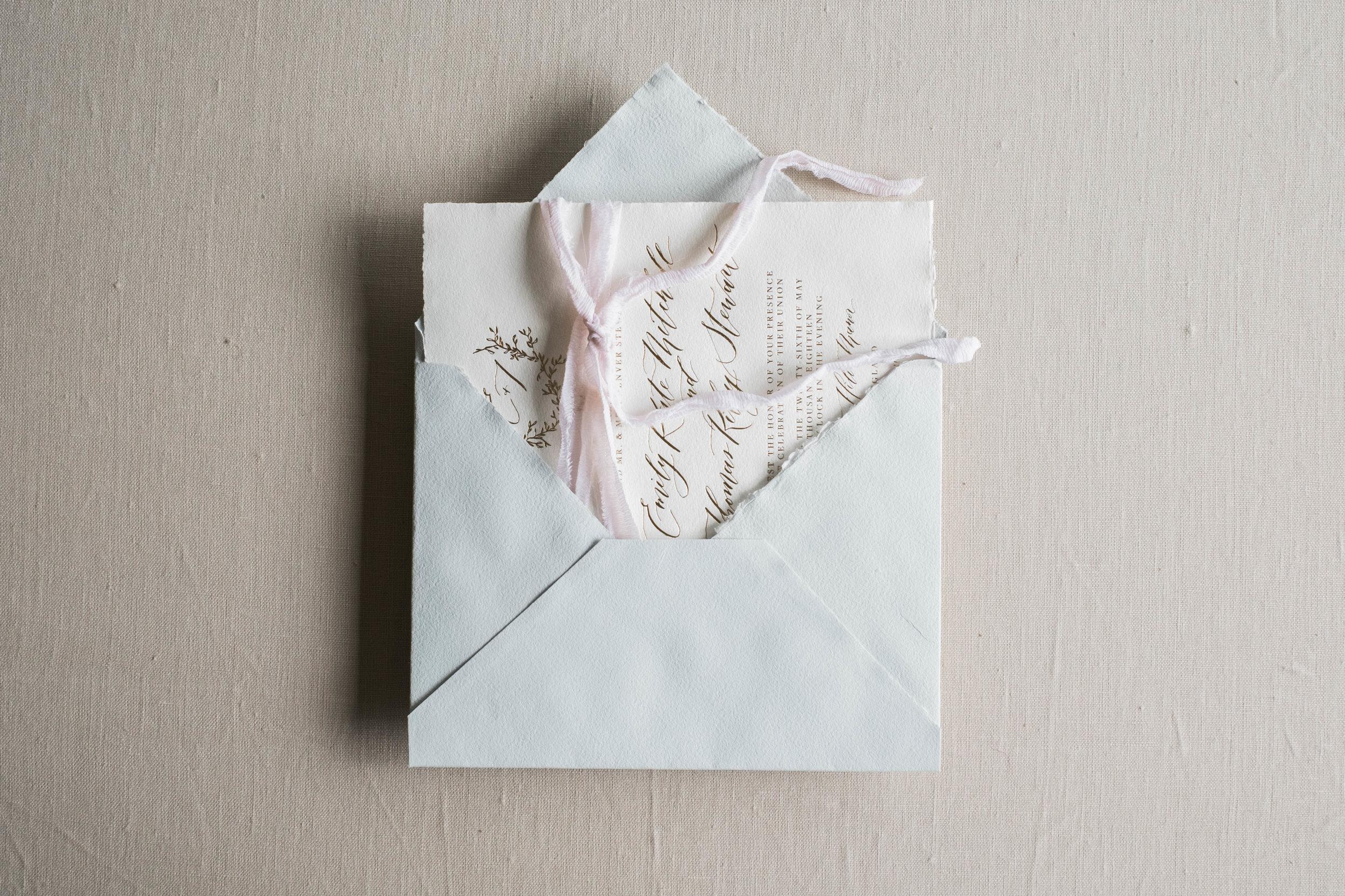 Main invitation in handmade paper