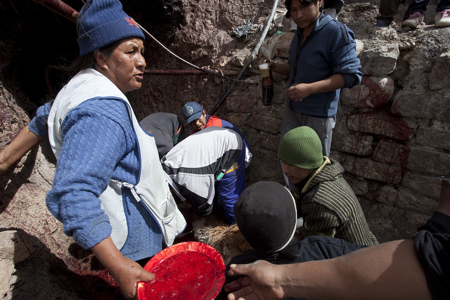 Women are considered bad luck for mining and are rarely seen at the mine. The exception is the day of the llama sacrifices, when they celebrate with the men.