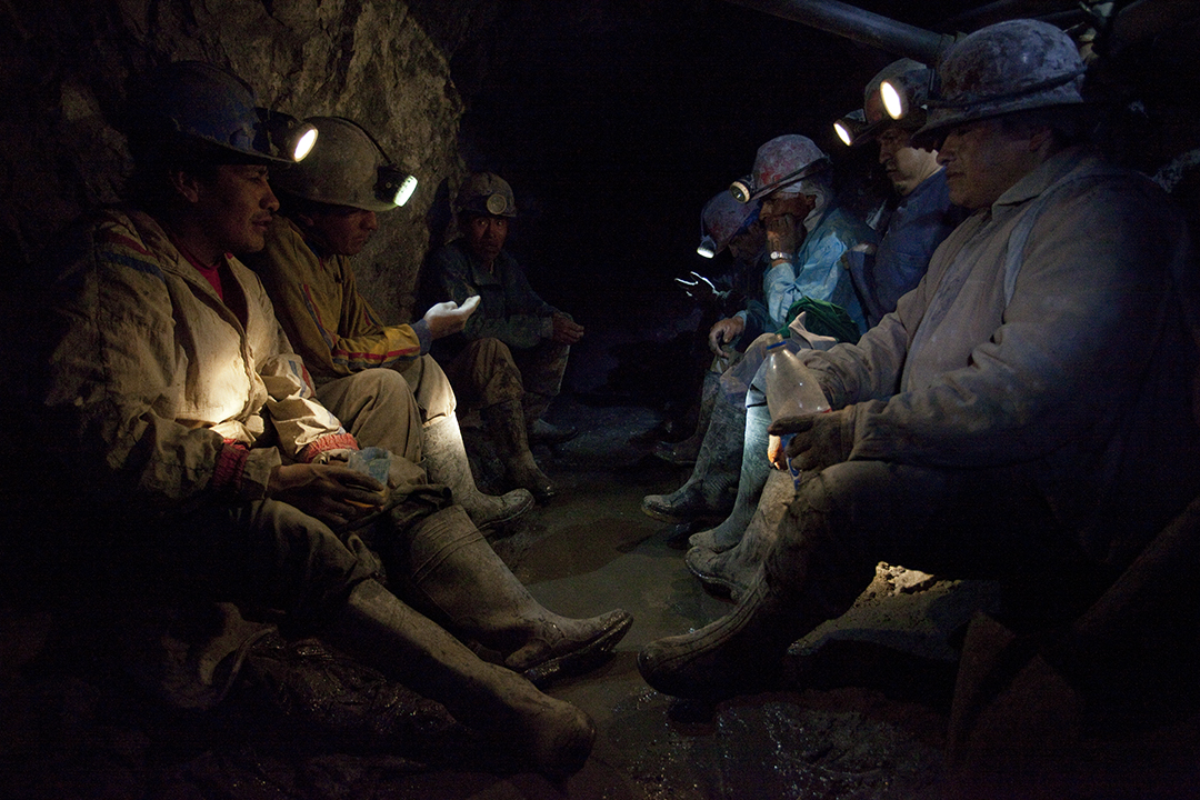 Sometimes the men stay in the mine after their shift, to hang out and drink. They say,  This is where we get our livelihood. Up there, it is different.