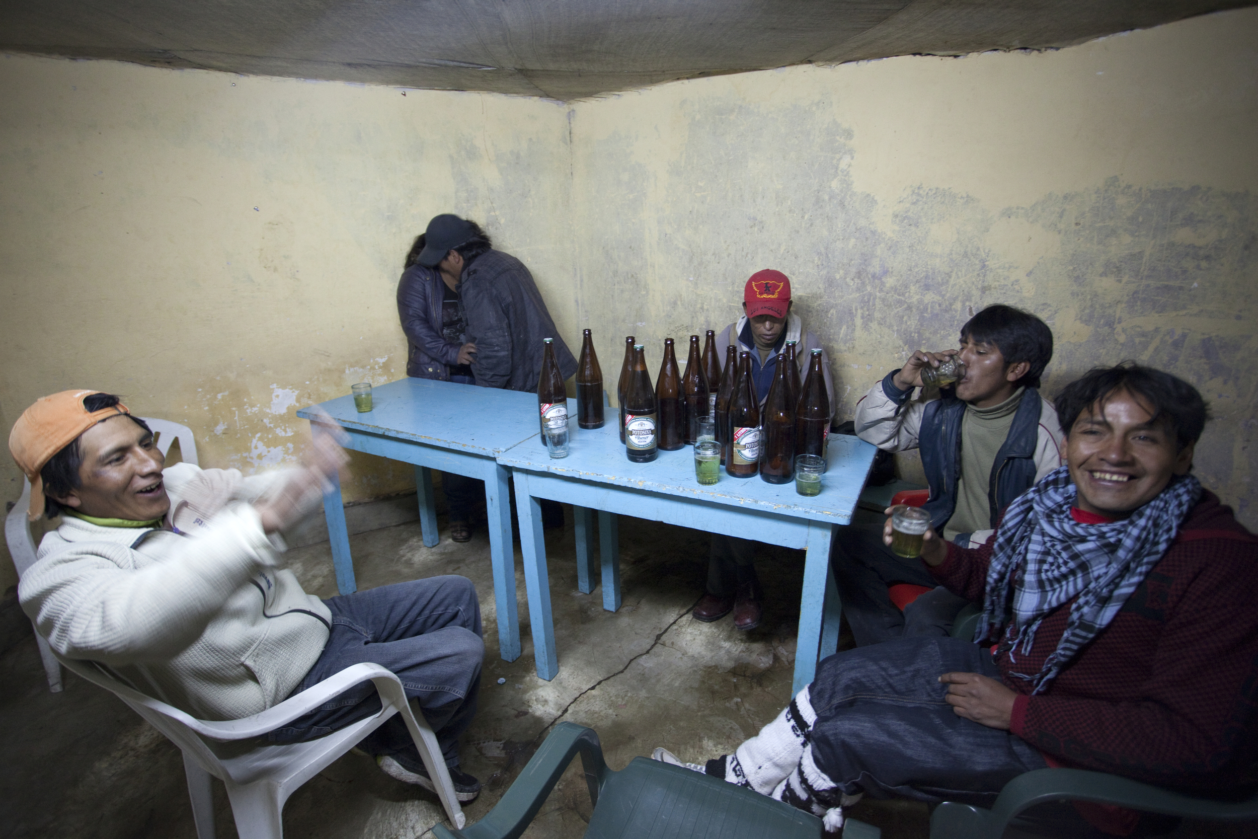 Many of the workers go to the so-called Miners' Bar once they receive their pay.
