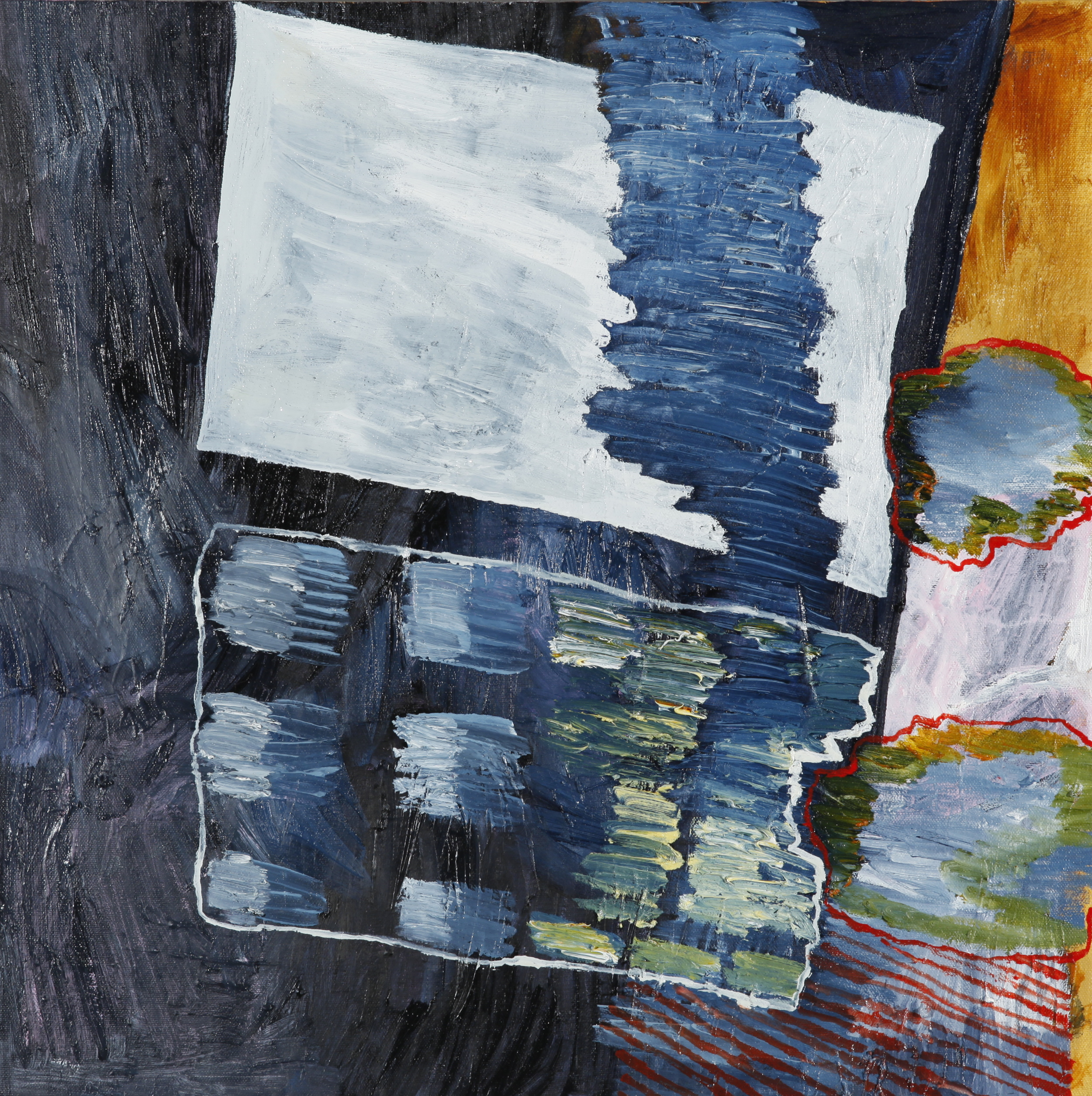 "acrylic and oil on canvas 12"" x 12""  2014"