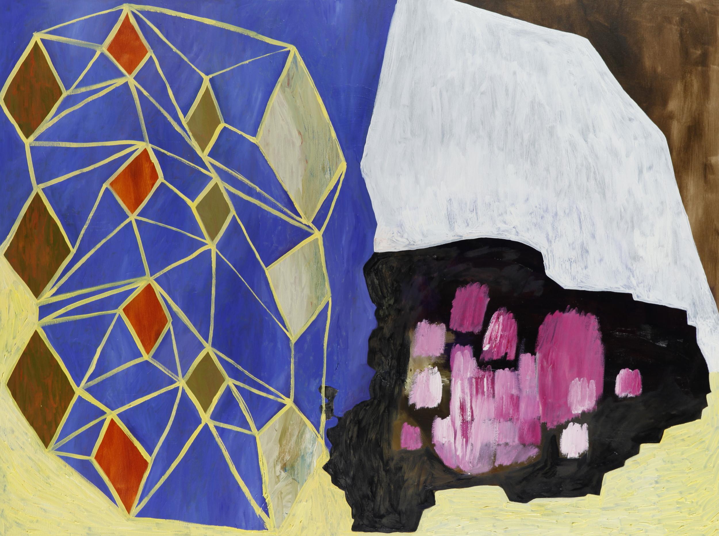 "acrylic and oil on canvas 36"" x 48""  2014"