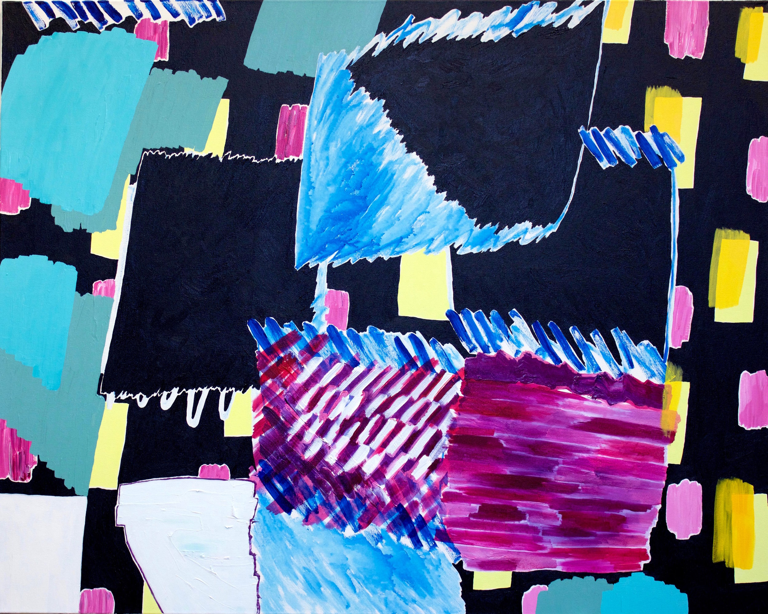 "acrylic and oil on canvas  48"" x 60""  2017"