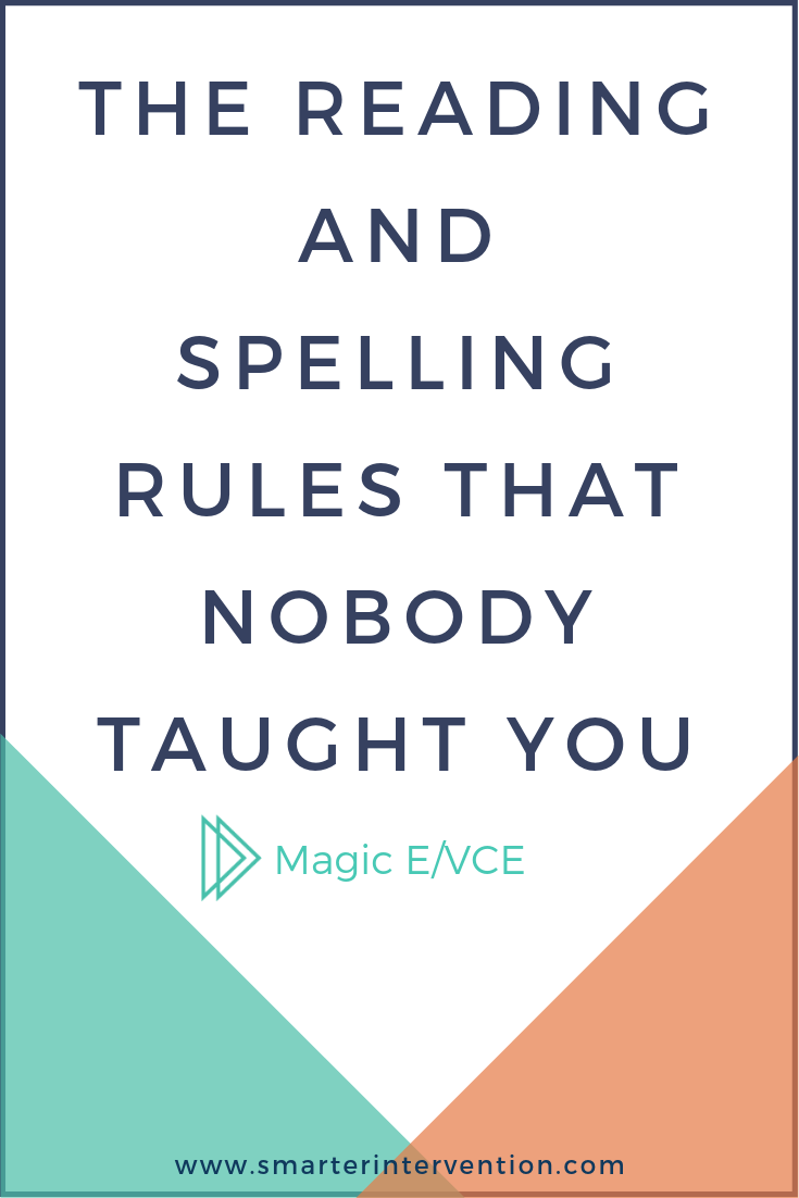Magic E or VCE syllables are when you have a vowel, and then a consonant, followed by an E. The E jumps over to make the vowel say its long sound (its name).