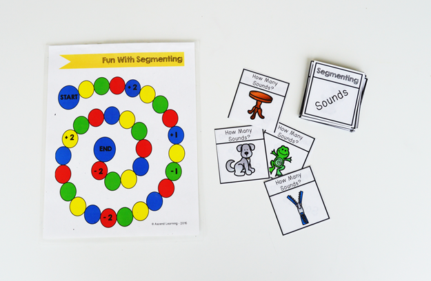 Our syllable and segmenting game is a great activity to help practice phonological awareness skills with students.