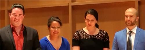 2015 Jensen Foundation Vocal Competition Winners L-R: Rexford Tester, tenor (2nd Place); Ariana Wehr, soprano (3rd Place); Allegra de Vita, mezzo-soprano (Munday Encouragement Award); and John Brancy, baritone (1st place).
