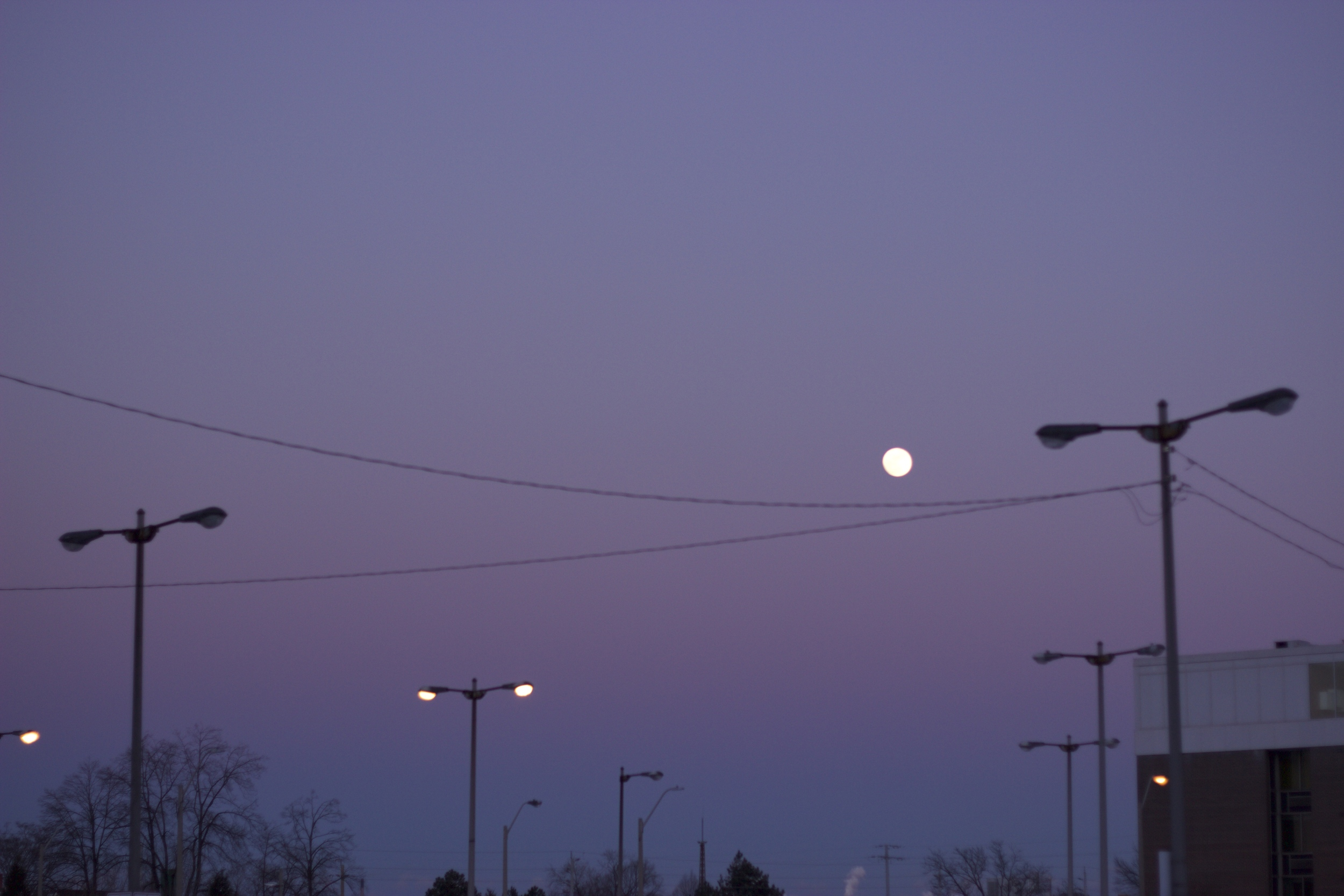 The moon at sunset on the snow day this past Monday.