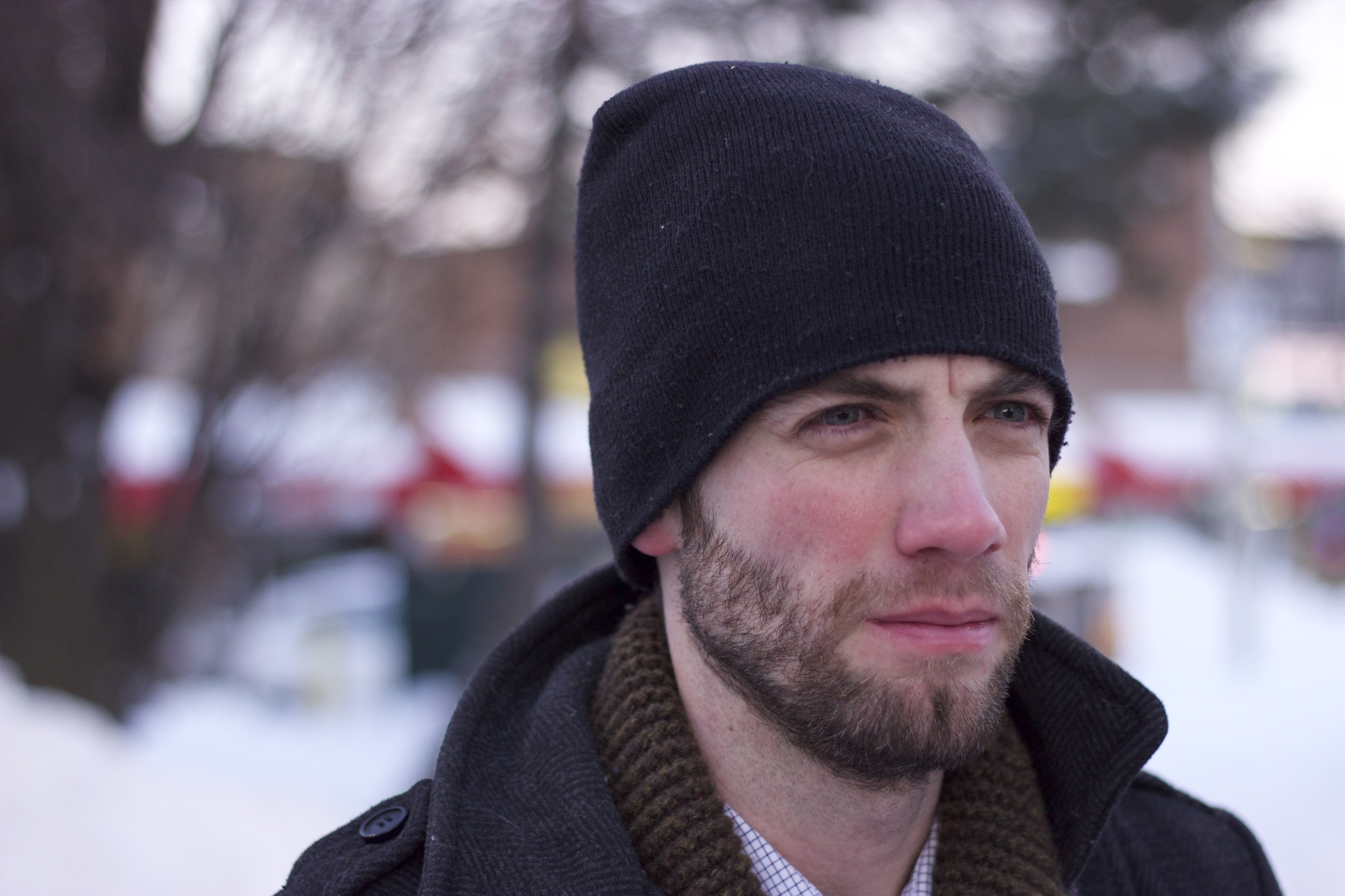 Portrait of my husband while waiting at a stop light from our walk in the snow.