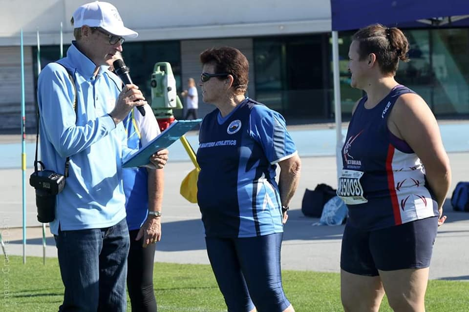 Mary being interviewed in the Champion of Champions Javelin 29-4-19  .jpg