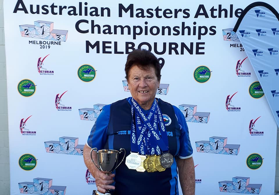 Mary with all her Medals & C of C Javelin Trophy 29-4-19 .jpg